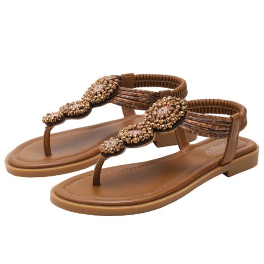1 Pair Brown Bohemian Design Slippers
