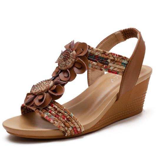 Slope Heel Flower Design Slippers for Women