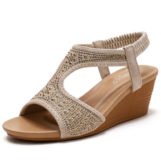 Slope Heel Bohemia Design Slippers for Women