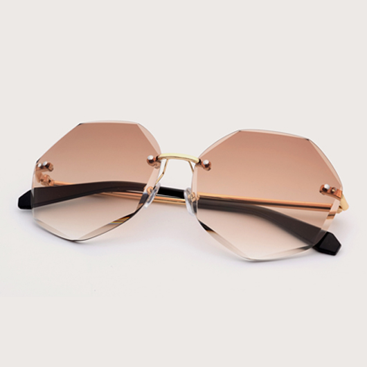 Metal Detail Rimless Design Khaki Sunglasses