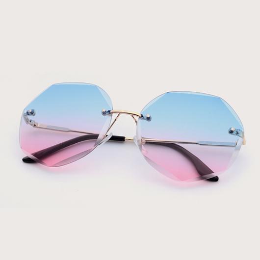 Metal Detail Rimless Design Multi Color Sunglasses