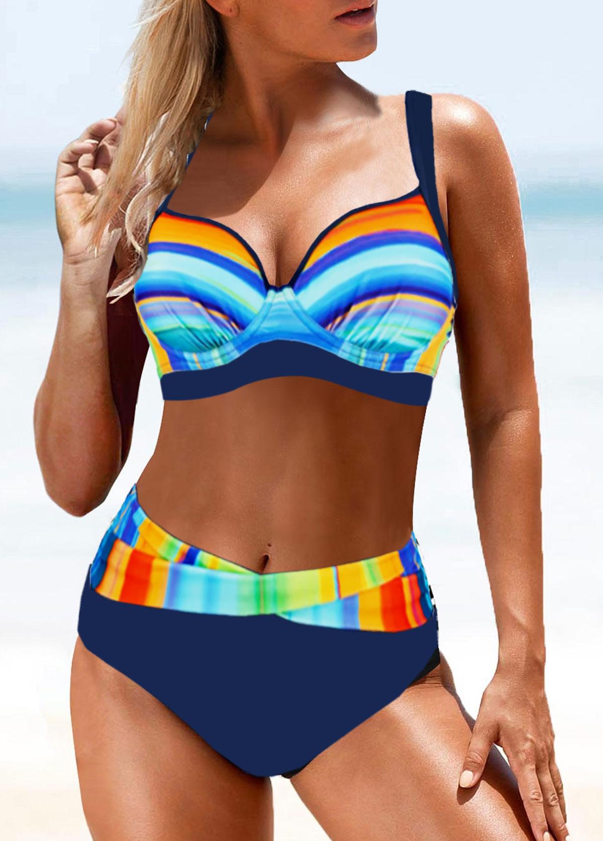 Mid Waist Rainbow Color Bikini Set