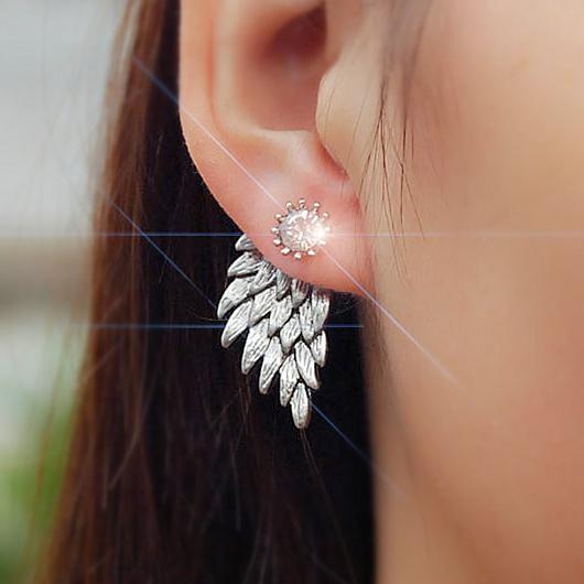 Wings Design Rhinestone Detail Silver Earring Set