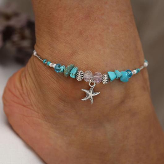 Turquoise Starfish Pendant Metal Detail Anklet
