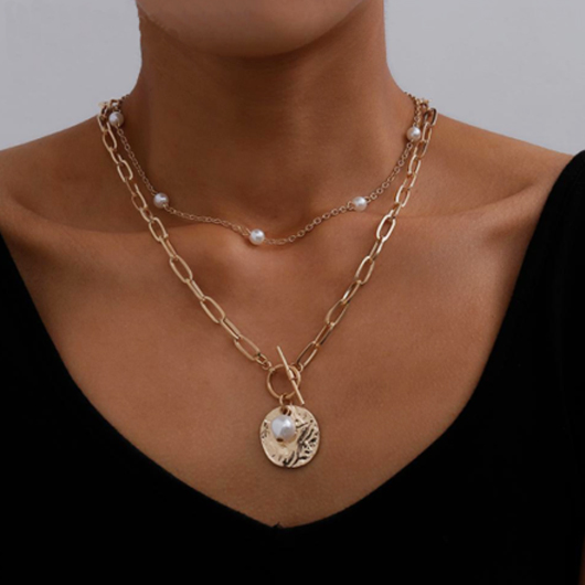 Pearl Detail Chain Design Metal Necklaces