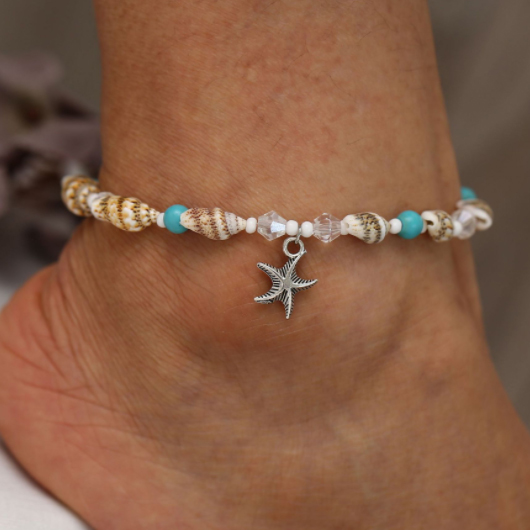 Conch Design Beads Metal Detail Anklet