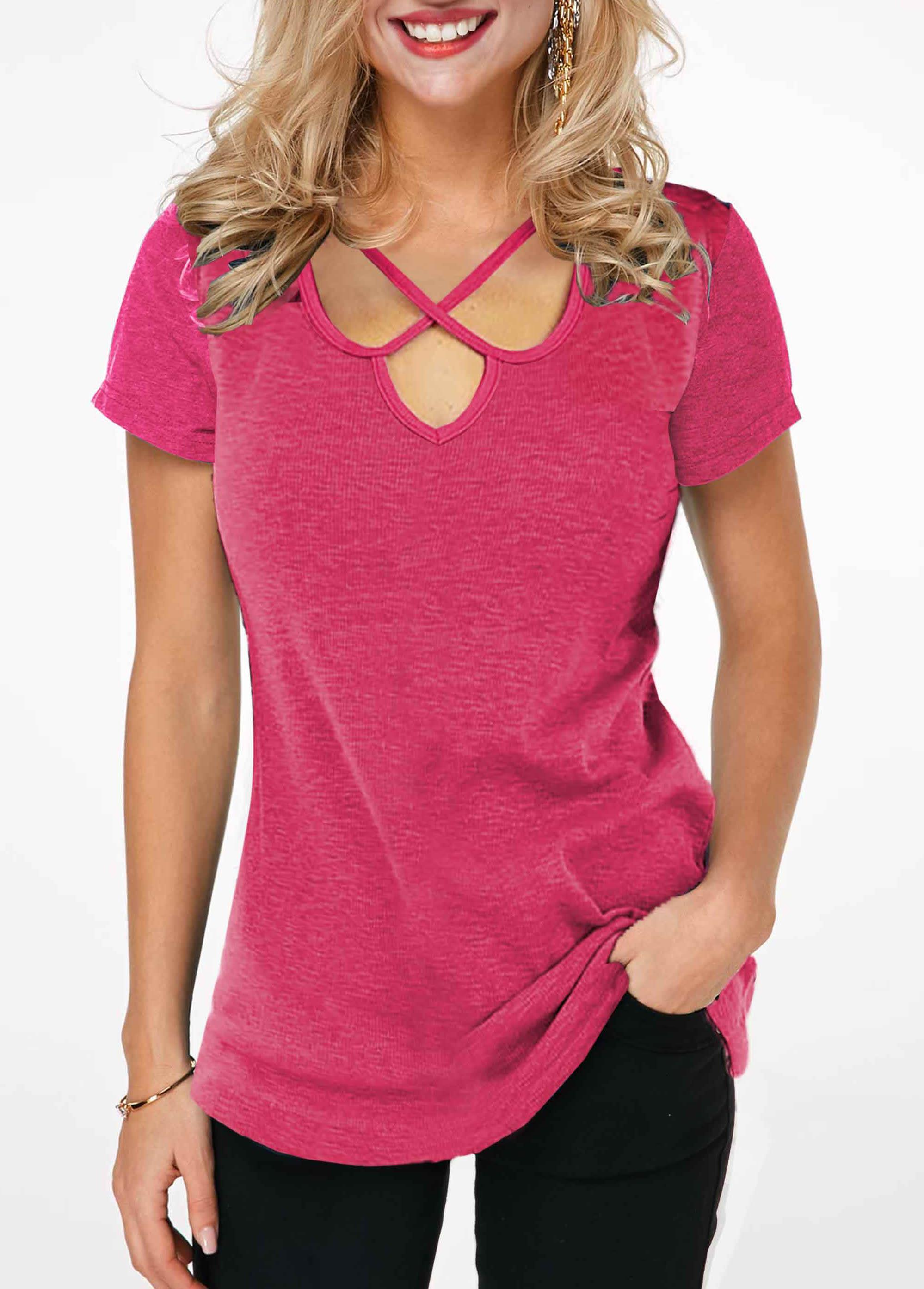 ROTITA Short Sleeve Cross Strap Solid T Shirt