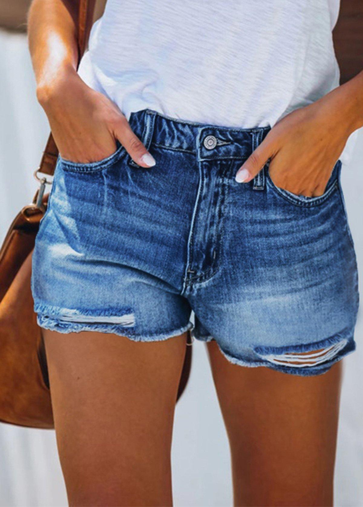 Shredded High Waisted Double Pocket Shorts