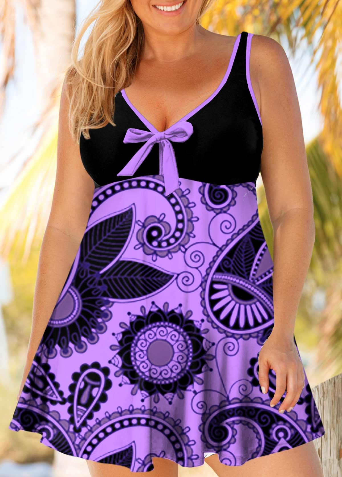 ROTITA Plus Size Paisley Print Bowknot Swimdress and Panty