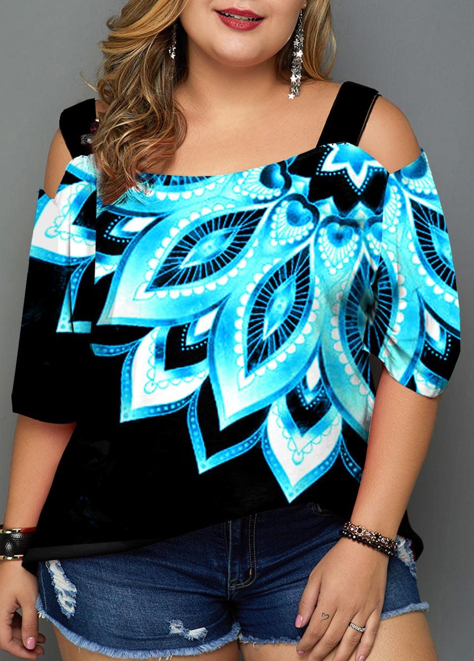 ROTITA Cold Shoulder Plus Size Printed T Shirt