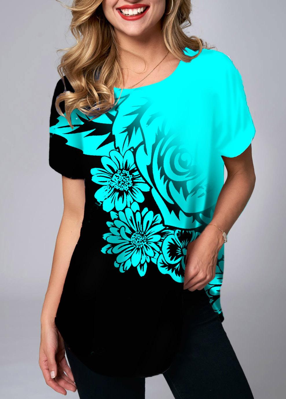 ROTITA Round Neck Floral Print Short Sleeve T Shirt