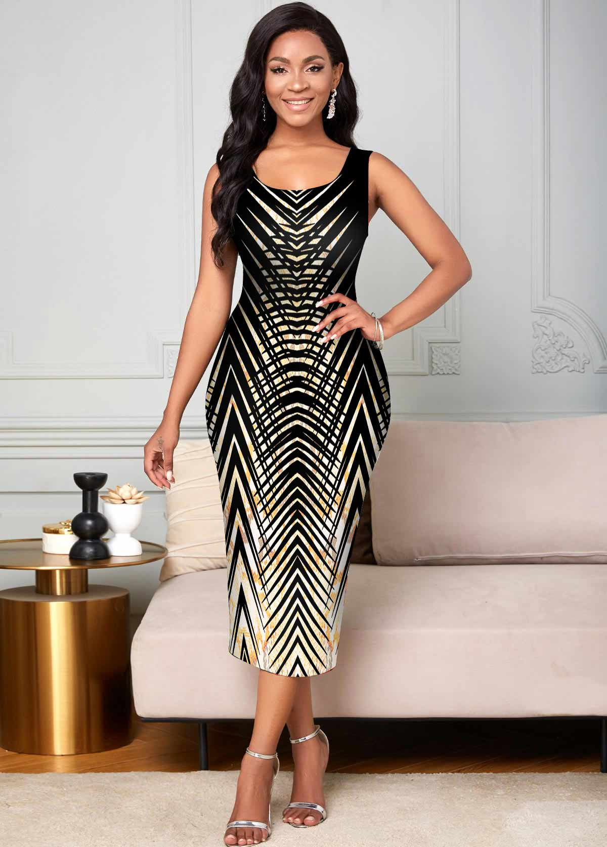 ROTITA Round Neck Animal Prints Sleeveless Dress