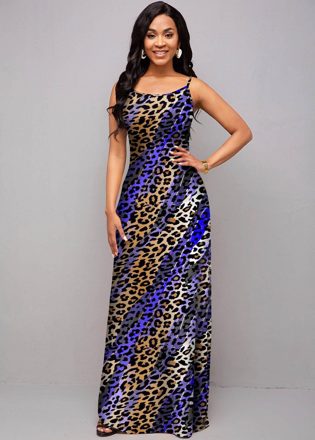 ROTITA Ombre Spaghetti Strap Animal Prints Dress