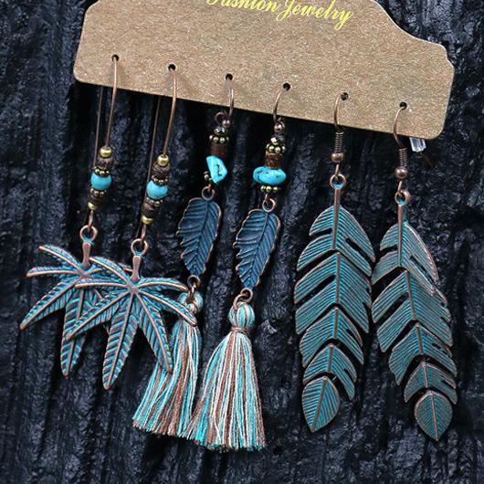 Tassel Beads Metal Detail Leaf Design Earrings