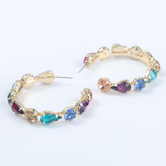 Rhinestone C shape Metal Detail Earrings