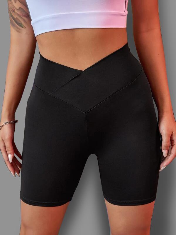 ROTITA Skinny Cross Front Black Sports Bottom