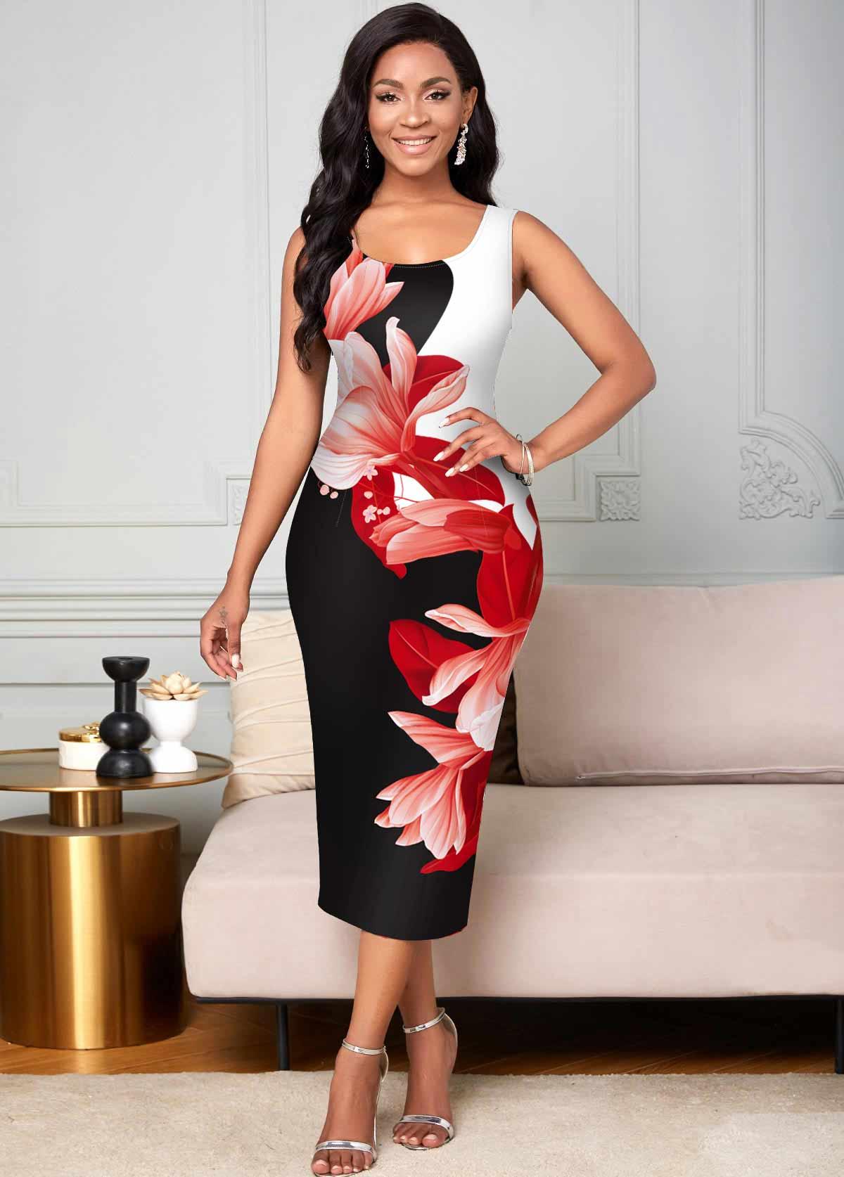 ROTITA Wide Strap Floral Print Round Neck Bodycon Dress