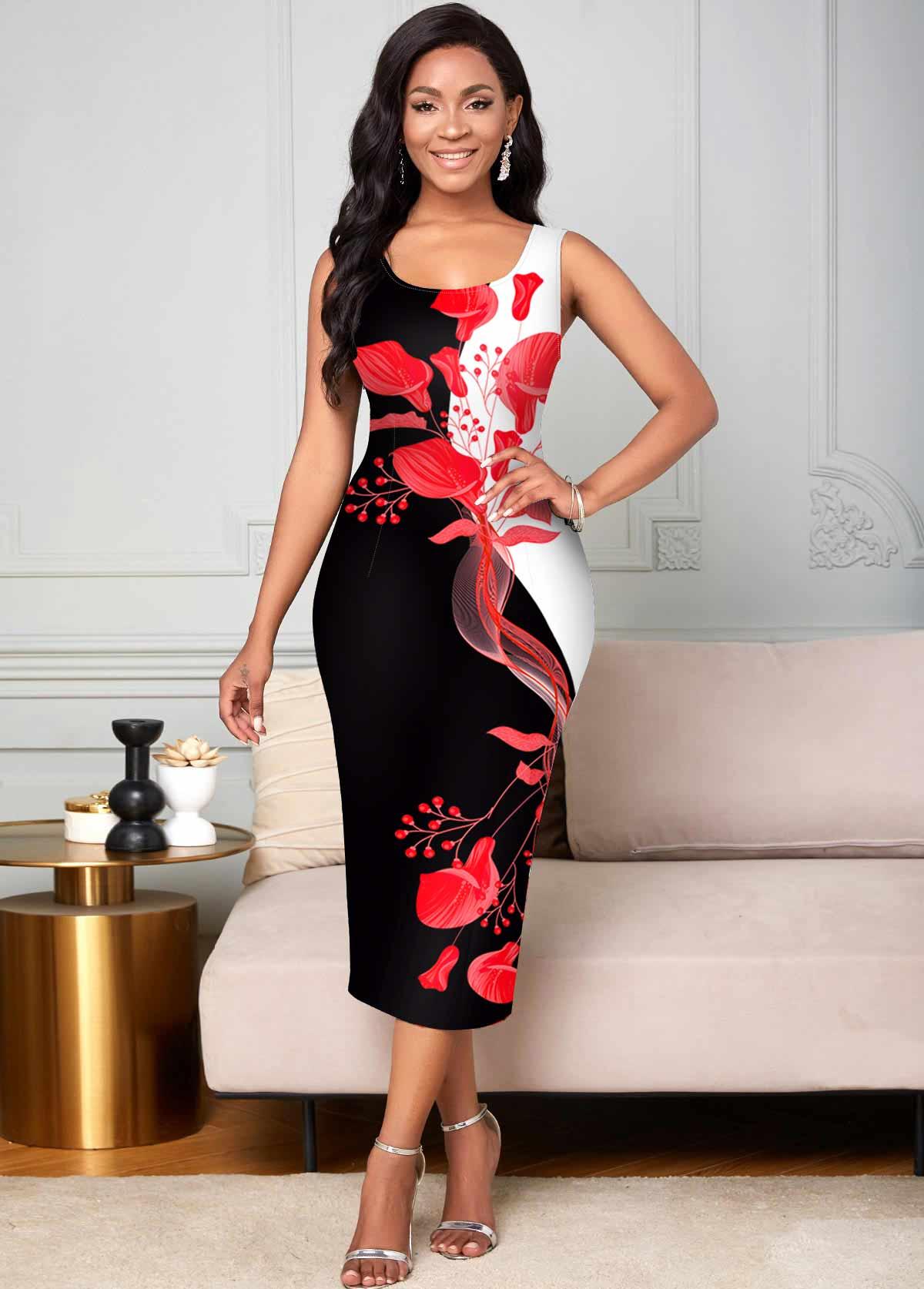 ROTITA Floral Print Sleeveless Contrast Bodycon Dress