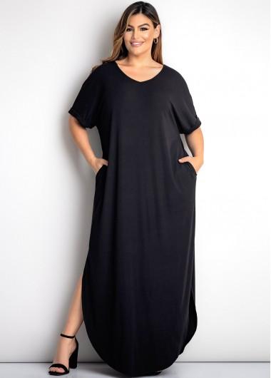 ROTITA Black Plus Size Double Pocket Dress