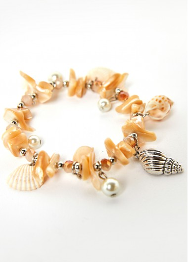 Pearl Design Conch Detail Beige Anklet