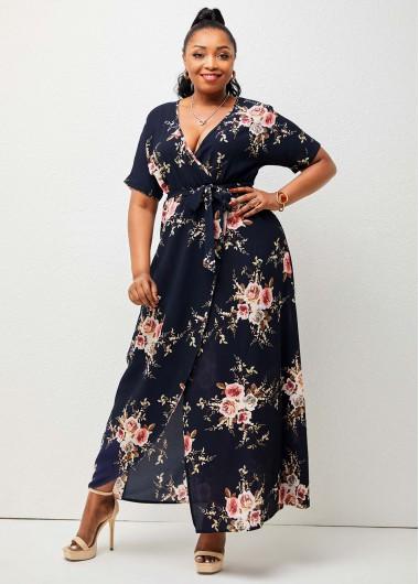 Floral Print Plus Size V Neck Dress