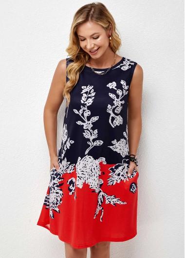 Double Pocket Round Neck Sleeveless Printed Dress