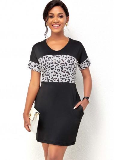 Leopard Print Short Sleeve Double Pocket Dress