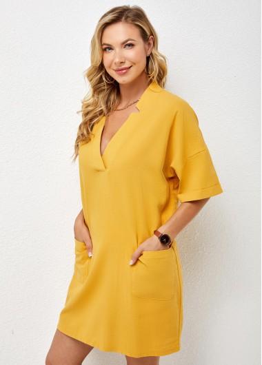 Solid Double Pocket V Neck Dress