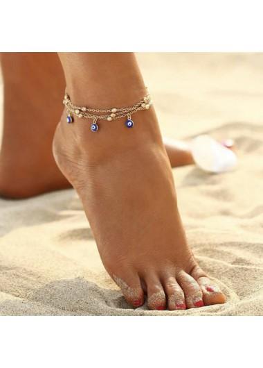 Gold Eye Design Metal Detail Anklet
