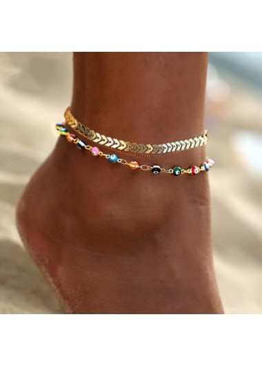 Metal Rainbow Color Eye Design Anklet