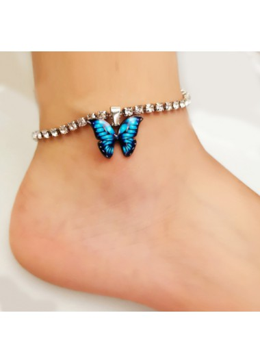 Rhinestone Design Butterfly Detail Silver Anklet