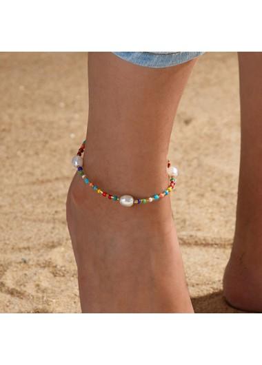 Multi Color Pearl Design Beads Detail Anklet
