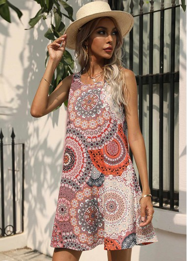 Printed Double Pocket Round Neck Sleeveless Dress