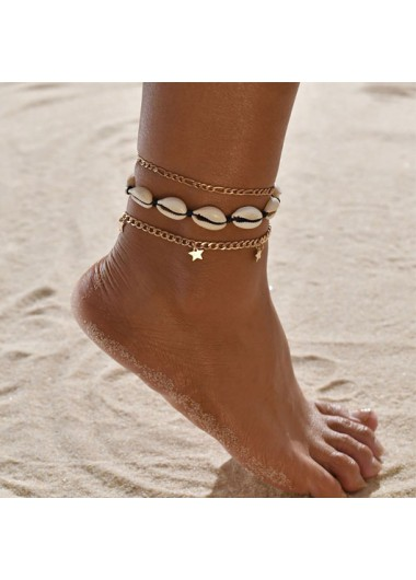 Conch and Star Design Metal Detail Anklets