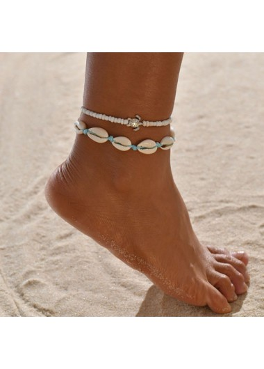 Metal Detail Shell Design Beads Anklets