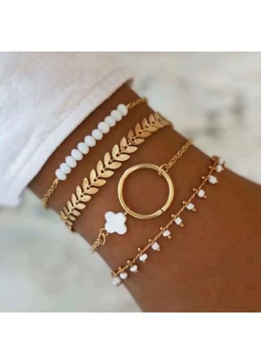 Beads Metal Detail Leaf Design Bracelets