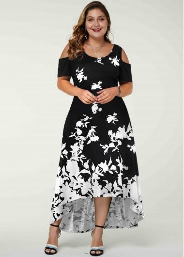 Rotita Contrast Floral Print Plus Size Cold Shoulder Dress
