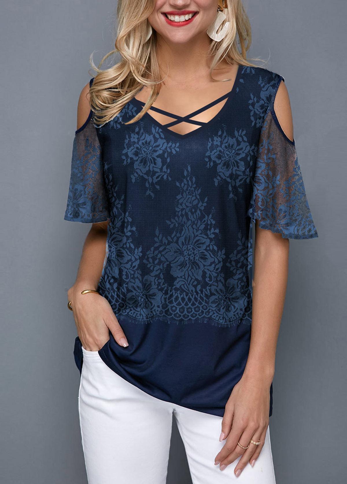 ROTITA Cold Shoulder Cross Strap Lace Panel T Shirt