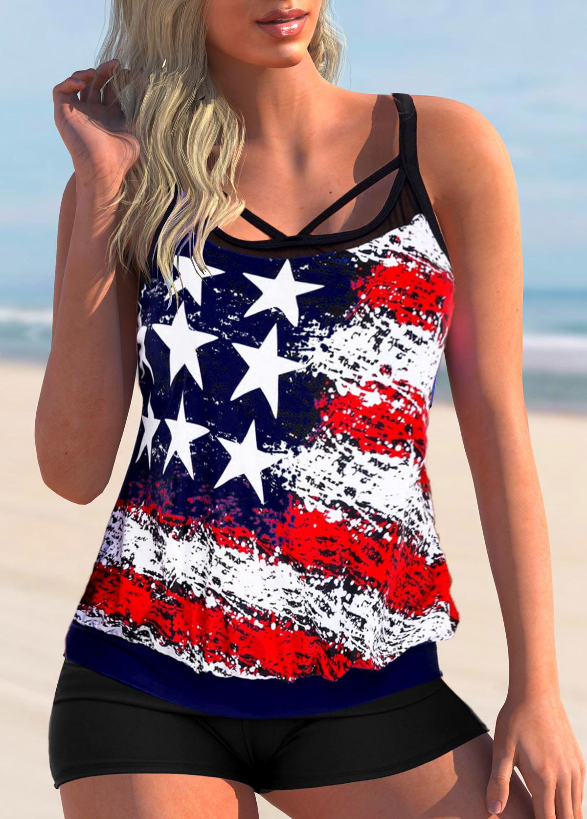 ROTITA Cross Strap American Flag Print Plus Size TankinI Set