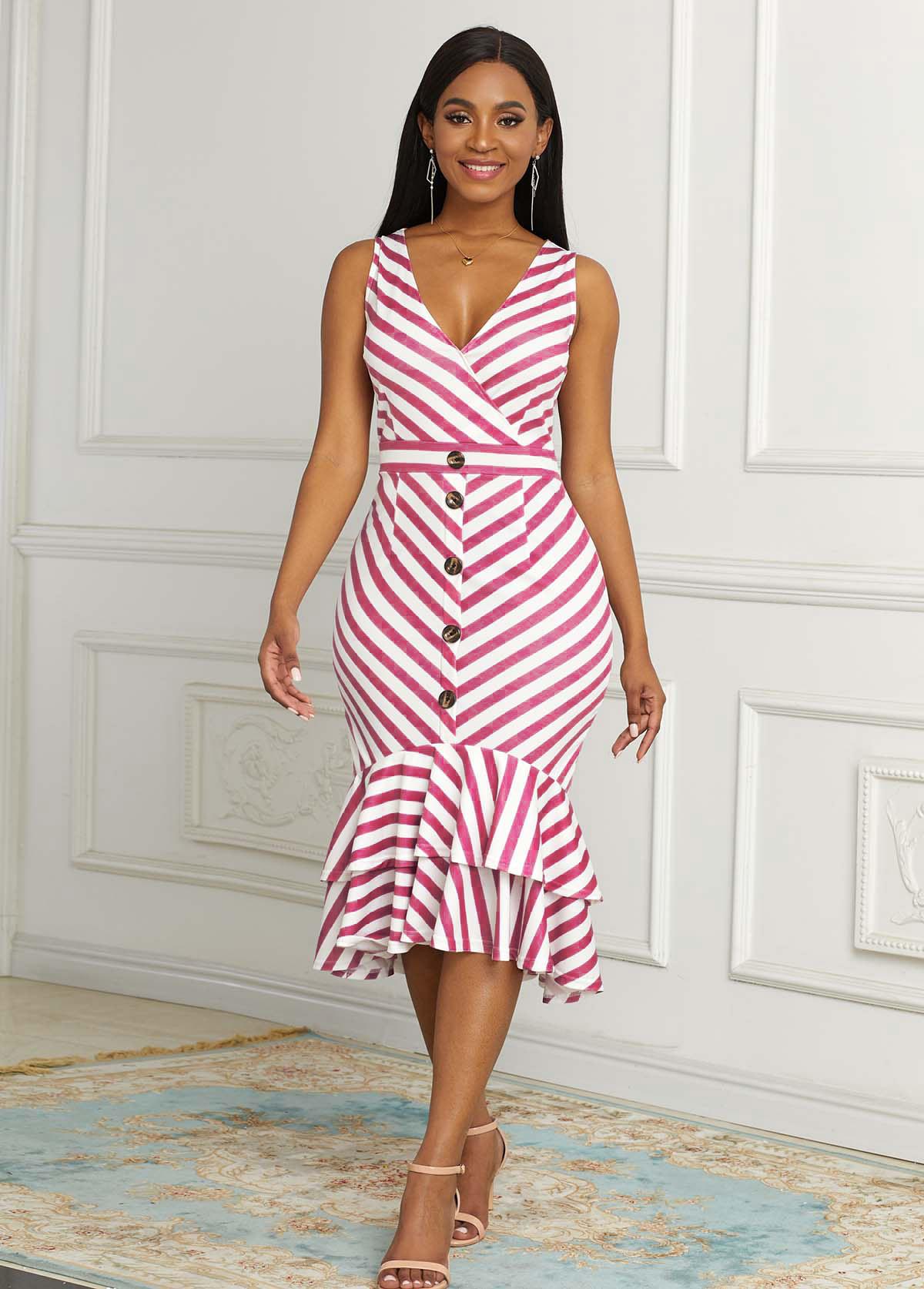 ROTITA Sleeveless Decorative Button Striped Mermaid Dress