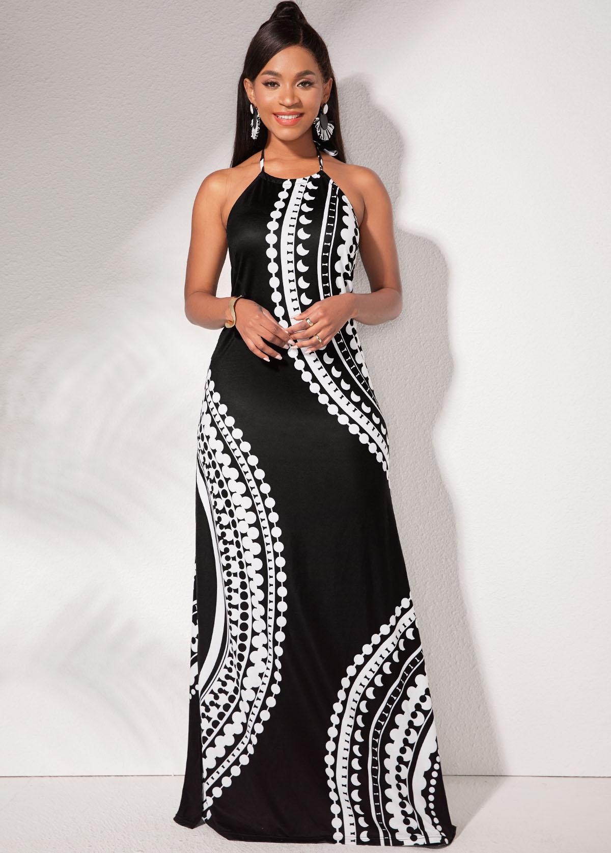 ROTITA Tribal Print Side Slit Halter Dress