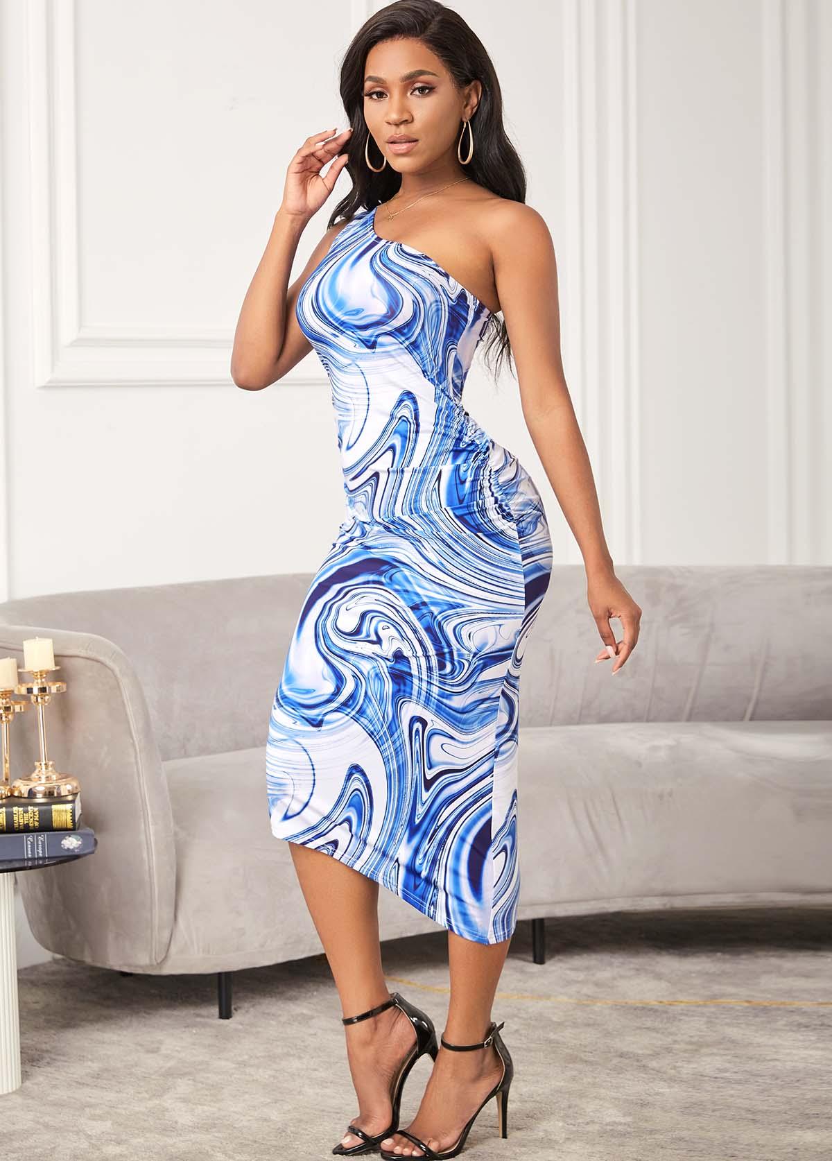 ROTITA Printed One Shoulder Skew Neck Bodycon Dress