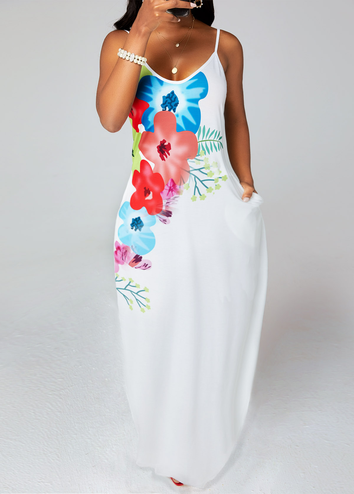 ROTITA Floral Print Spaghetti Strap Pocket Dress