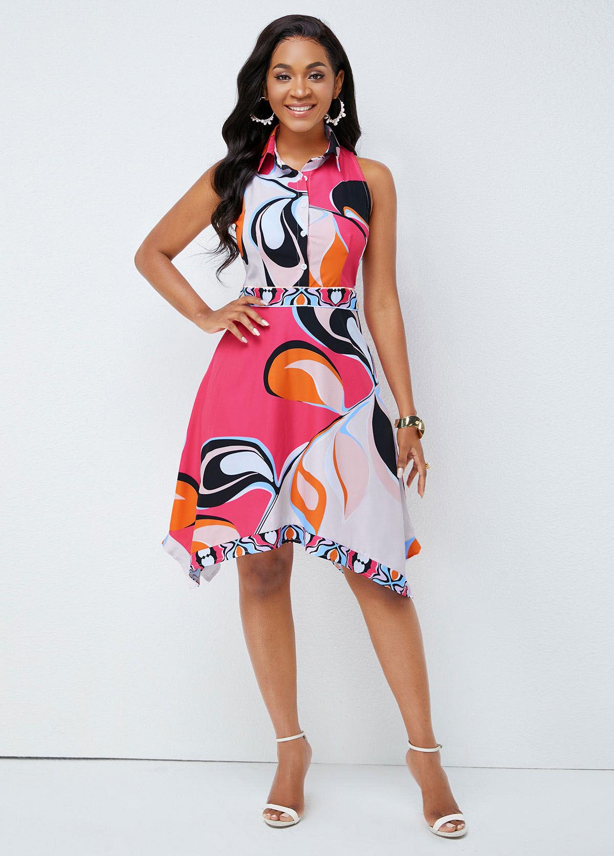 ROTITA Turndown Collar Asymmetric Hem Printed Dress
