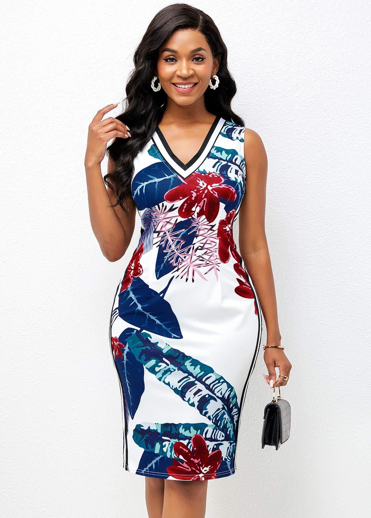 ROTITA V Neck Plant Print Sleeveless Bodycon Dress