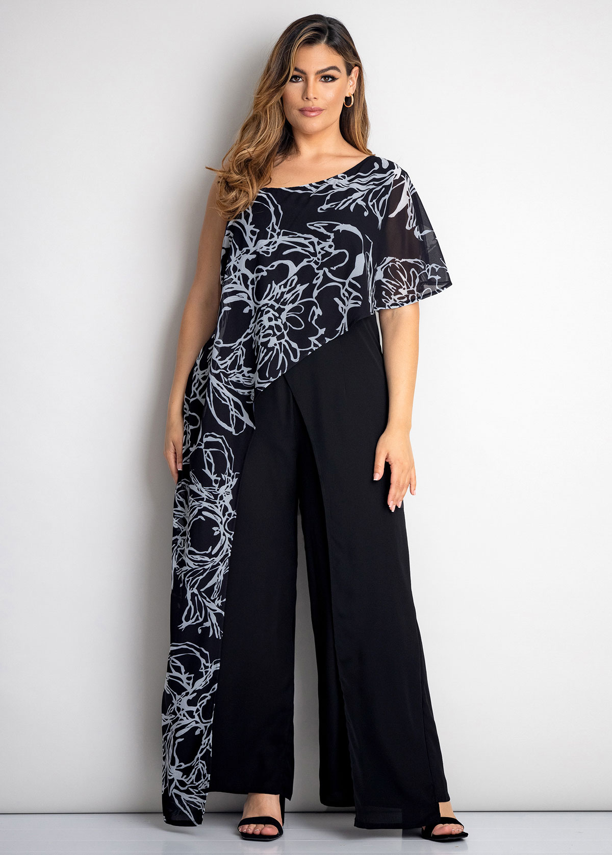 ROTITA Printed Plus Size Spaghetti Strap Jumpsuit