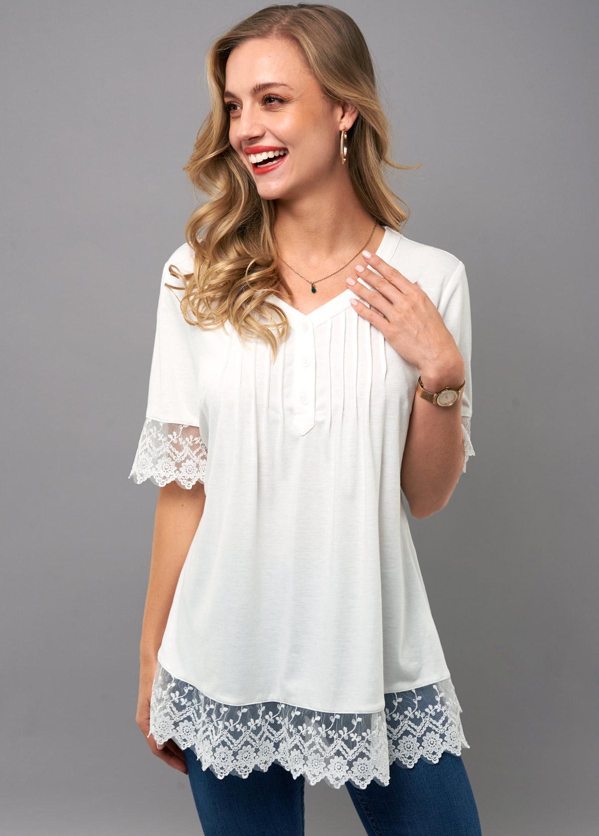 ROTITA Lace Stitching Crinkle Chest V Neck T Shirt