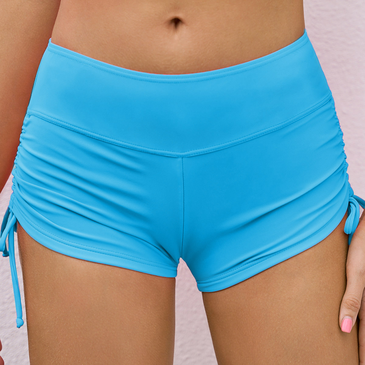 Drawstring Side Mid Waist Solid Swimwear Shorts