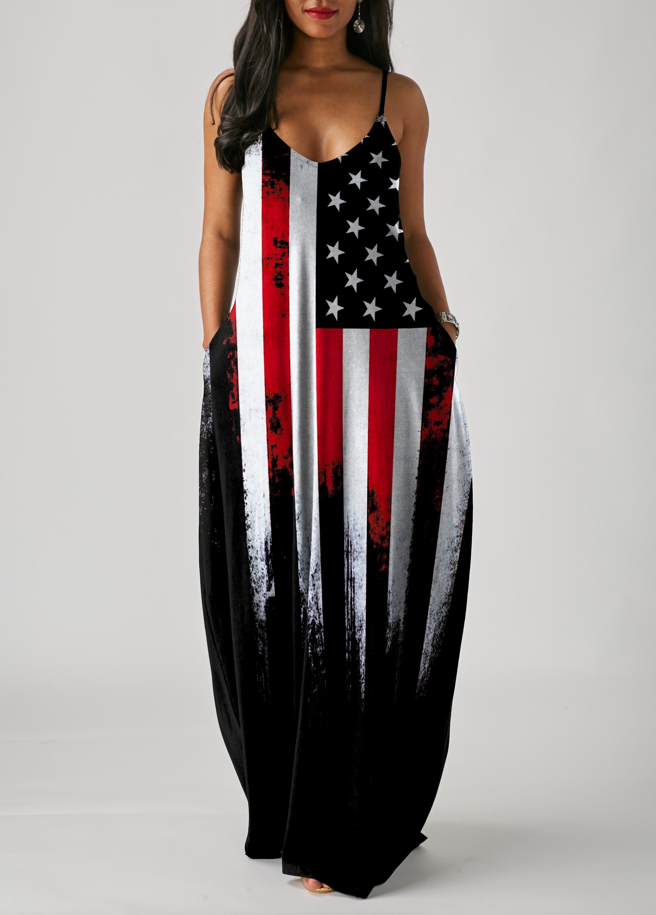 ROTITA Spaghetti Strap American Flag Print Maxi Dress