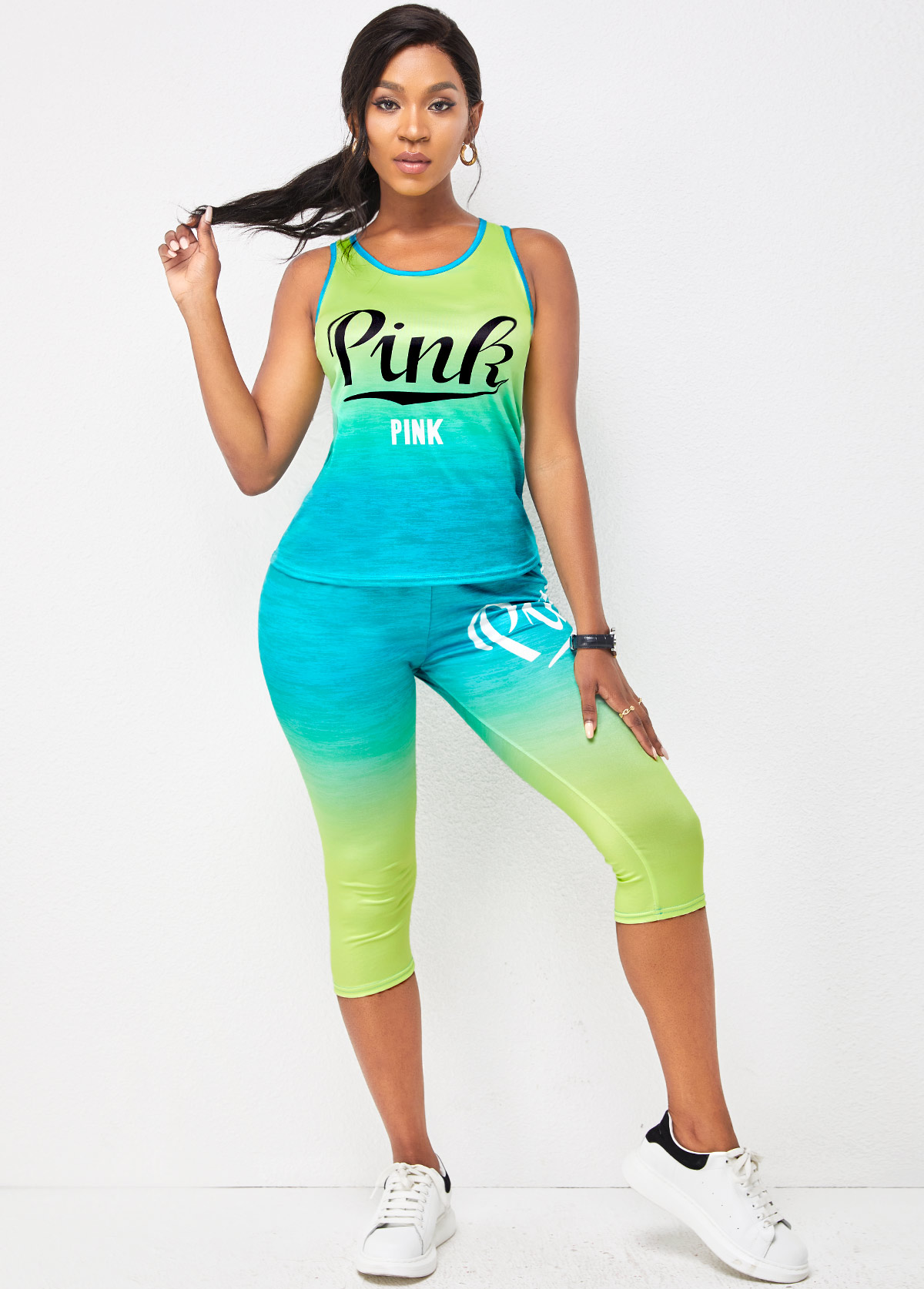 Round Neck Letter Print Sleeveless Sports Suit